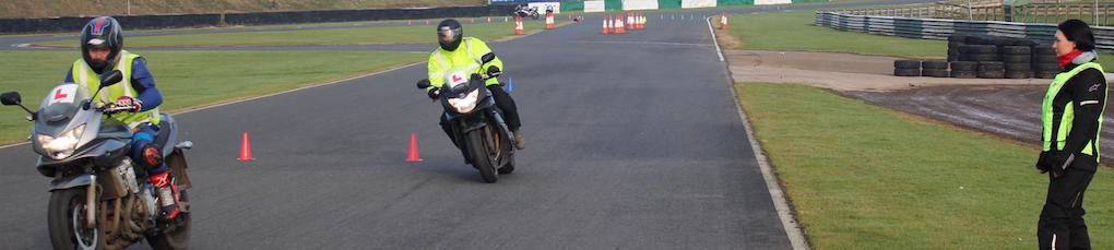 motorbike test swerve on track